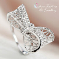 925 Sterling Silver AAA Grade CZ Hollow Out Bow-knot Adjustable Opening Ring