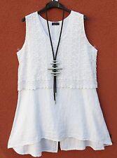 SARAH SANTOS Leinen Kleid Tunika Linen Dress Tunic Robe XL 48 50 Lagenlook