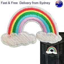 Rainbow above clouds iron on patch Dreamy good luck pot gold embroidery patches