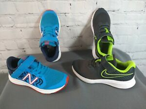 GUC lot of 2 boy's NIKE & NEW BALANCE athletic shoes - SIZE 13