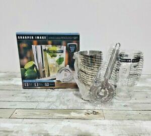 Sharper Image Mixology Set - Metal Cocktail Shaker, Strainer & Recipe Glass