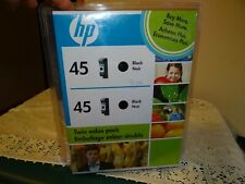 HP 45 BLACK INK CARTRIDGES TWIN PACK OF (2) GENUINE NEW SEALED Expired 2010