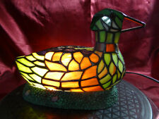 Tiffany style Art Nouveau DUCK LAMP Colourful Stained Glass Table / Night Light