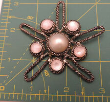 Sterling Silver Seastar Star Fish Pink Mop Pearl Shell Brooch Pin 8a 21