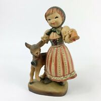 "ANRI Juan Ferrandiz SWISS GIRL with Lamb Hand Carved Wood Figurine Italy 4"""
