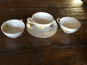 Pair Larry Laslo Sango Teacup Saucer Designer Teacup Set Vintage Teacup 1980s Sango Blue Hydrangeas Southampton c