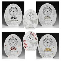 Wedding Anniversary Mirror Clocks 25TH Silver 30TH Pearl 40TH Ruby 50TH Gold