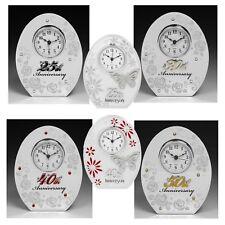 Wedding Anniversary Mirror Clocks 25TH Silver 30TH Pearl 40TH Ruby 50TH Gold