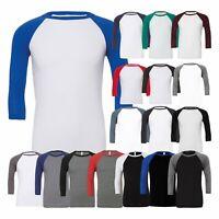 Canvas Unisex 3/4 Sleeve Baseball Tee Raglan Sleeves T-Shirt Casual Fashion Wear