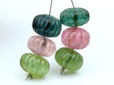 Natural Tourmaline Hand Carved Pumpkin Rondelle Gemstone Beads (33035)