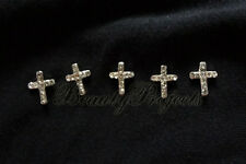 (5pcs) shiny silver 3D cross charm rhinestone nail art charms acrylic gel A86