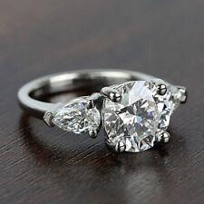 Three Stone 1.77 Carat H VS1 Round Pear Cut Diamond Engagement Ring White Gold