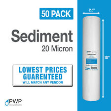 Sediment Water Filter RO/DI WVO/SVO Whole House 10x2.5 50pcs 20 micron