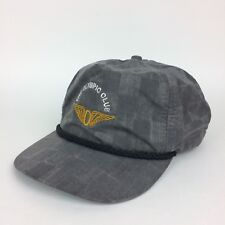 Vintage The Olympic Club Grey Checkered Baseball Structured Hat Cap Made In USA