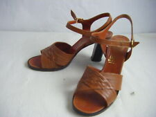 Fred Braun Vtg 70s Brown Leather Open Toes Heels Made in Italy-6 B