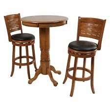 Oak Finish 3 Piece Weave Back Stool Pub Table Set Home Living Dining Furniture