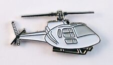HELICOPTER - LAPEL PIN BADGE  AVIATION FLYING ROTOR CRAFT CHOPPER WHITE  OB20
