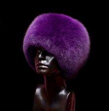 Genuine Purple Fox Fur Handmade Cossack Beanie Winter Hat