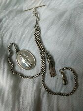 Antique Silver Albertina watch chain, tassel and later fob