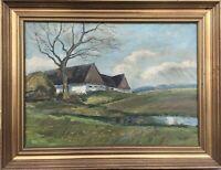 Impressionist Monogramm 1953 Landschaft mit Landhäusern Dänemark 46 x 60 cm