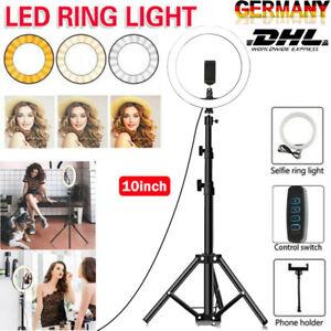 """10"""" LED Light Ring w/Tripod Stand Phone Holder Kit 6500K For Live Stream Selfie"""