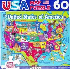 """Jigsaw Puzzle USA MAP 50 United States of America 60 Pieces 8.75"""" x 11.25"""" S8-B"""
