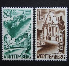 Germany 1947 1948 Stamps MNH Allied Zone WURTTEMBERG UNDER FRENCH Castle Church