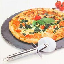 SET PIZZA PIATTO 30 CM ROTONDO IN ARDESIA CON ROTELLA TAGLIA PIZZA IN METALLO