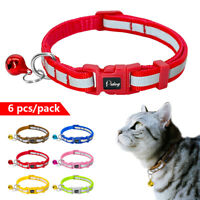 6/12/18pcs Reflective Small Dog Cat Collar with Bell Soft for Puppy Kitty Kitten