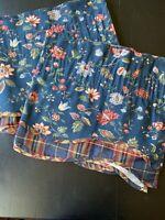 Waverly Valance PAIR Blue Floral Palempore Scallop Plaid Underlay 76 X 17