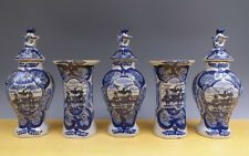 Antique Dutch Delft 5-Piece Garniture Biblical ''Verspieders'' 19TH C. Marked ''