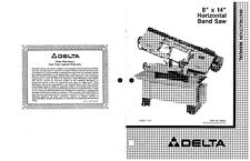 Delta 20-714 715 716 717 718 719 8 x 14 Horizontal Band Saw Instruction Manual