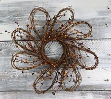 "Flower Shaped Pip Berry Wreath, 16"" - Burgundy & Gold"