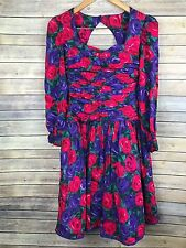 Vtg 80s 90s Dress Floral Rose Ruch Tulle Sweetheart Bubble Prom Party Sz 10