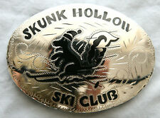 Vintage large Hand Engraved Skunk Hollow Ski Club Inlay Western Belt Buckle
