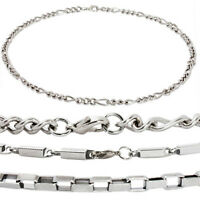 Men Stainless Steel Figaro, Heshe or Box Chain Necklace