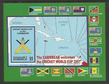 DOMINICA 2007 CRICKET WORLD CUP FLAGS MAPS Souvenir Sheet MNH