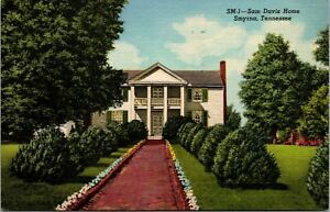 Vtg Sam Davis Home Plantation Smyrna Tennessee TN Linen Postcard