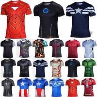 Marvel Superhero Men Short-sleeve T-Shirts Sport Tops Gym Compression Base Layer