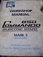 Norton Commando 850 MK.3 arranque eléctrico todos los modelos de 1975 (Original Manual)