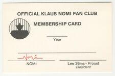Klaus Nomi Fan Club Membership Card