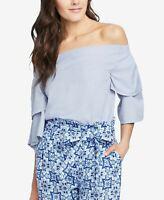 RACHEL RACHEL ROY Womens Layered Bell Sleeve Top BLUE XS