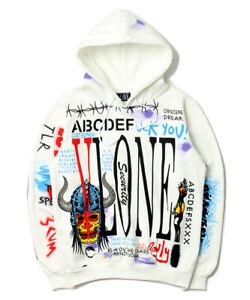 18 AW VLONE Graffiti Sweats Mens Casual Hoodies Baseball Sweatshirt Coats Jacket
