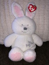 "TY Pluffies MY Baby BUNNY Plush 2004 RABBIT 11"" New NWT! Sewn EYES Toddler LOVEY"