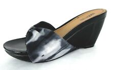 Kenneth Cole Shoes Sz 8.5 Wedge Heels Slide Thong Sandals Gray Tie Dye Leather