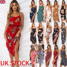 520b2916194c2 UK Womens Holiday Strappy Midi Dress Chiffon Summer Beach Side Split Sun  Dresses
