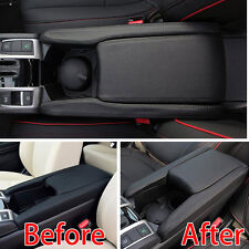 For Honda Civic16-18 PU Leather Center Armrest Box Surface Case Cover Trim BlK