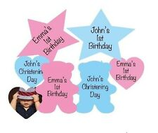 Personalised Table confetti, 3 shapes star heart bear wording front photo back