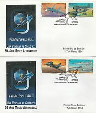 Chile 1994 2 FDC´s Airplanes FIDAE 94 50 years Aviation Museum
