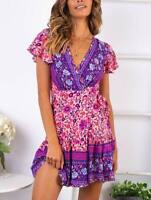 Boho party evening short floral summer sundress beach Women's maxi cocktail